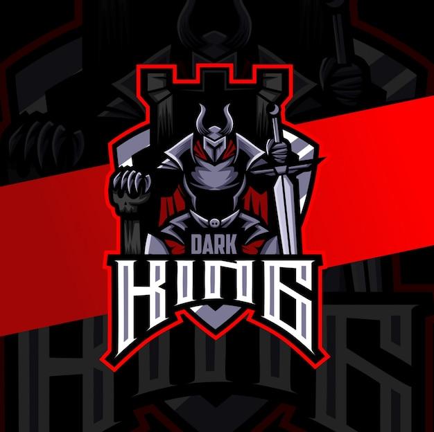 Dark king knight mascot esport logo design