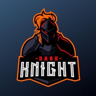 Темный рыцарь для спорта и киберспорта на темном фоне