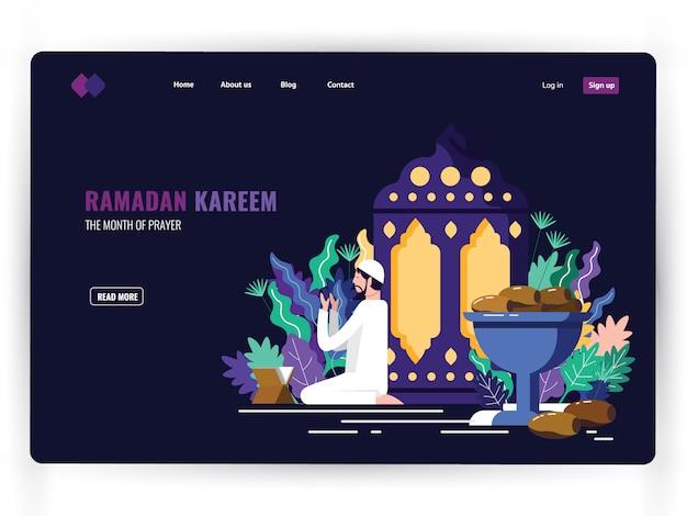 Dark landing page template of holy month of prayer, ramadan kareem.