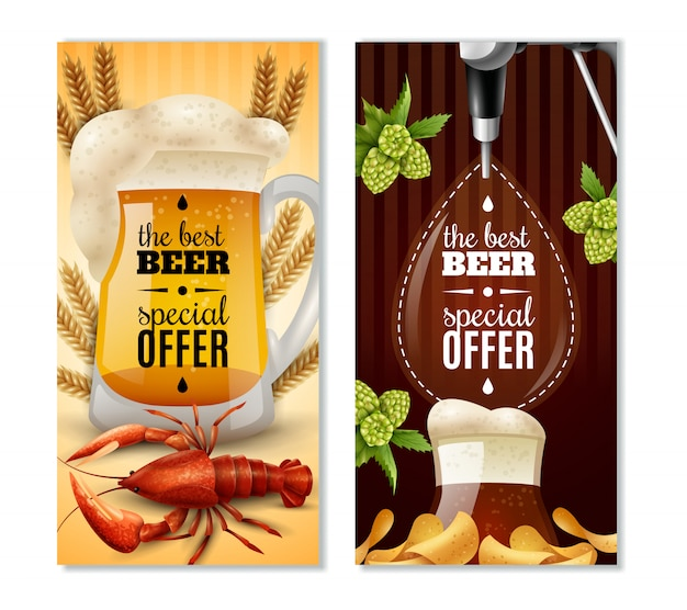 Dark light beer 2 vertical banners set