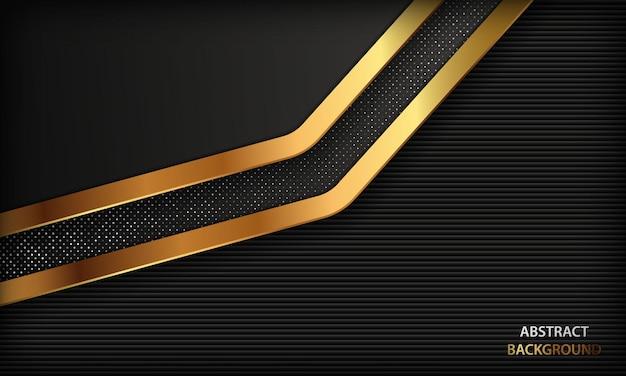 金色の形と銀色のドット要素を持つ暗い豪華な背景