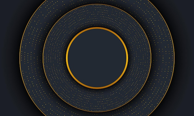 Dark luxury circle background with golden lines and dot. vector illustration.