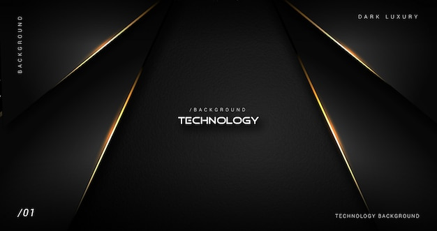 Dark luxury technology background with gold border