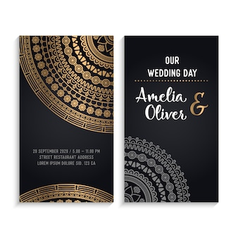 Dark luxury wedding invitation cards