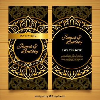 Dark luxury wedding invitation in mandala style