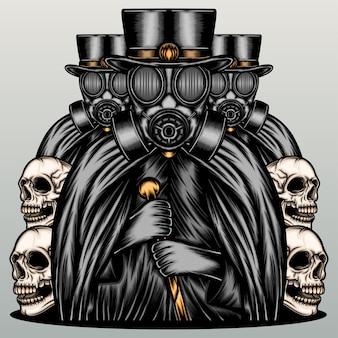 Dark mafia wearing gas mask.