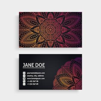 Dark mandala style business card