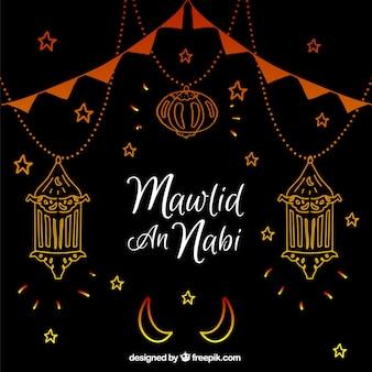 Dark mawlid background with hand drawn lanterns