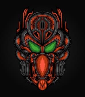 Dark mecha robot head illustration Premium Vector