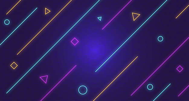 Dark memphis background with line neon glow