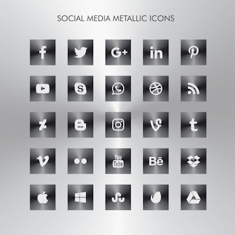 Dark metallic social media icons