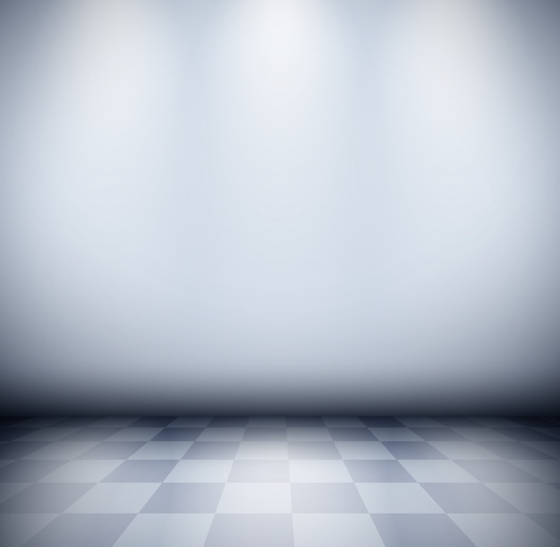 Dark misty room with checkered floor and wall background