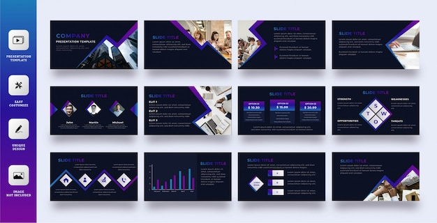 Dark mode business presentation template set with gradient line