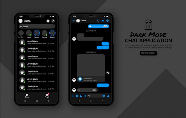 Dark mode of mobile chat appliaction, messenger template for social media post