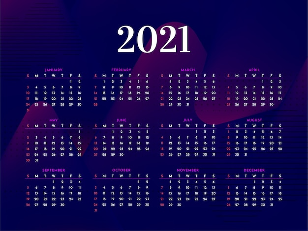 어두운 현대 2021 새해 세련된 달력 템플릿