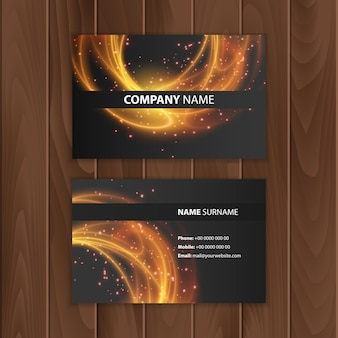 Dark modern business card design template with abstract colorful background