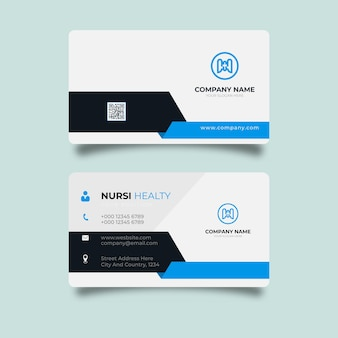 Темный современный шаблон визитной карточки синий черный цвета плоский дизайн вектор абстрактный творческий