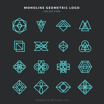 Dark modern monoline logo collection