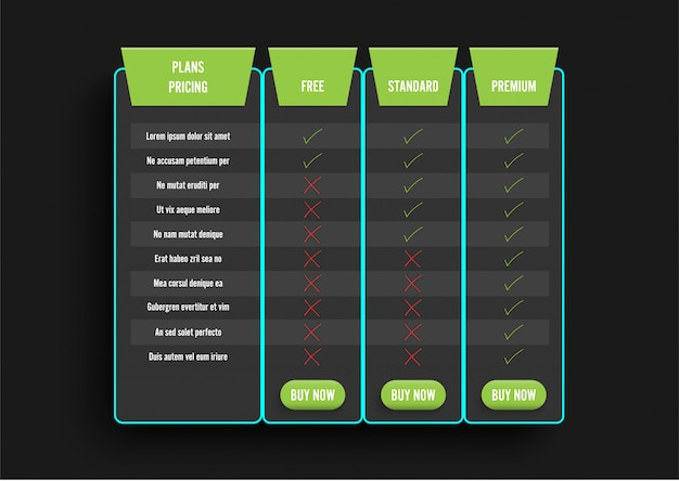 Dark modern pricing table with green recommended option. comparison pricing list.