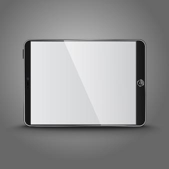 空白の画面と暗い現代のタブレットコンピューター