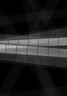 Dark monochrome filmstrip abstract background. vector design