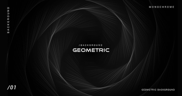 Dark monochrome geometric lines background
