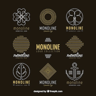 Dark monoline logo collection