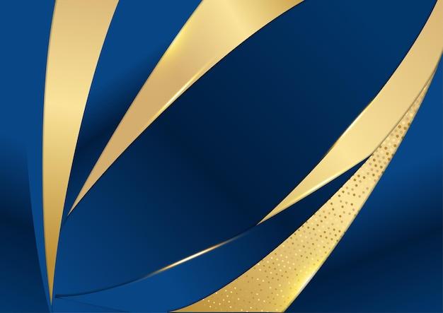 Темно-синие и золотые формы кривых на фоне светящихся золотистых полосатых линий и блеска. роскошно и элегантно. абстрактный дизайн шаблона. дизайн для презентации, баннера, обложки. модный вектор