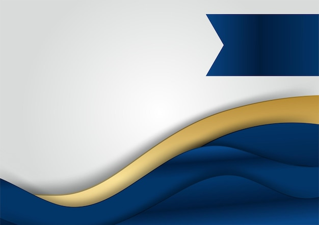 빛나는 금색 줄무늬 선과 반짝이가 있는 배경에 진한 남색 및 금색 곡선 모양. 고급스럽고 우아합니다. 추상 템플릿 디자인입니다. 프레 젠 테이 션, 배너, 표지 디자인.