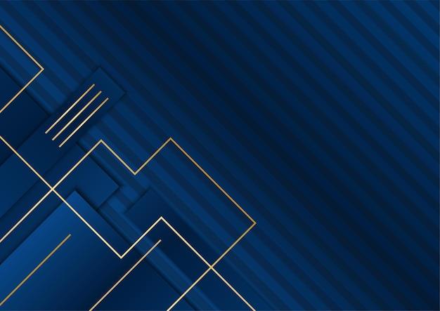 Темно-синие и золотые формы кривых на фоне светящихся золотистых полосатых линий и блеска. роскошно и элегантно. абстрактный дизайн шаблона. дизайн для презентации, баннера, обложки.