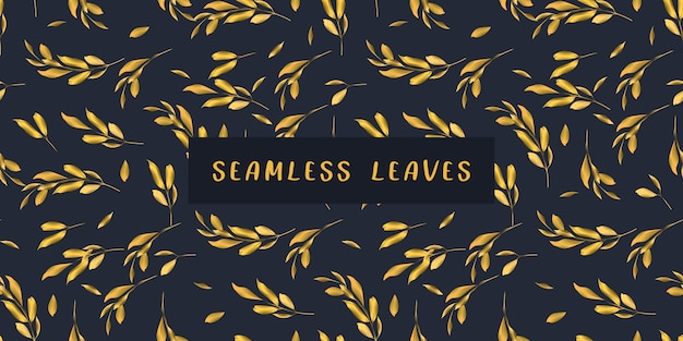 Dark navy blue and golden leaves seamless pattern