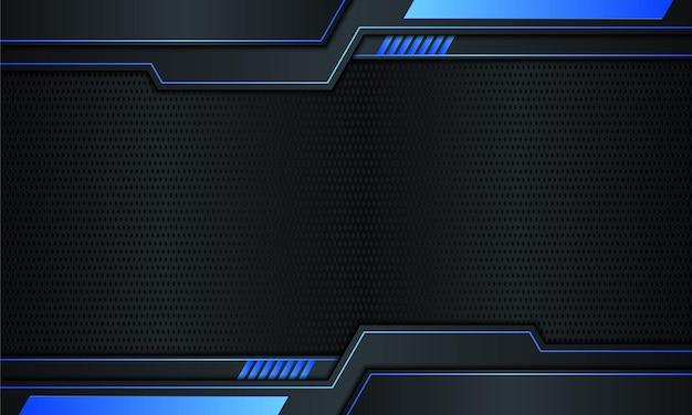 青い縞模様と線の背景ベクトルイラストと濃紺の金属
