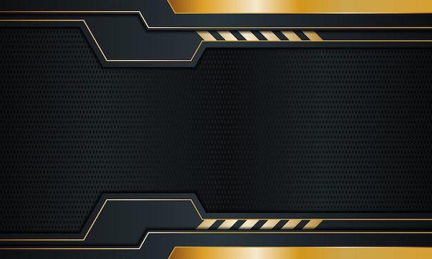 金色の縞模様と線の背景ベクトルイラストとダークネイビーメタル