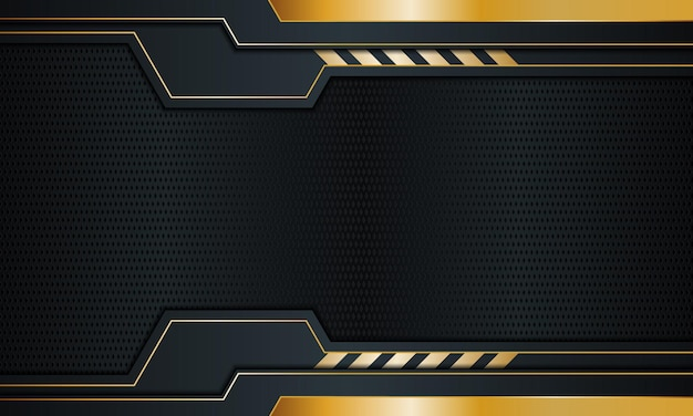 Dark navy metal with golden stripes and lines background vector illustration