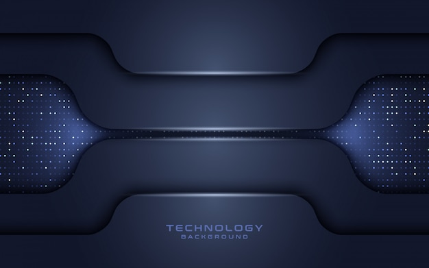 Dark navy technology layer overlap background with glitters.