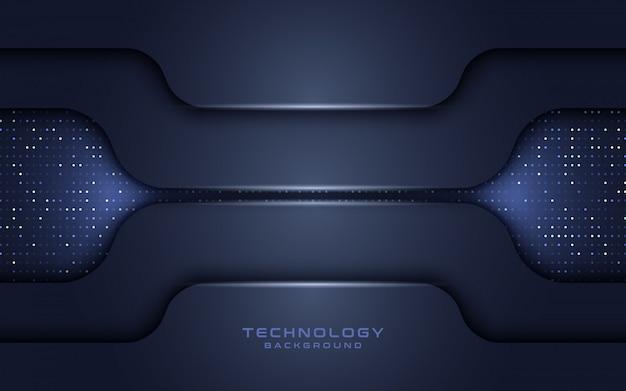 어두운 해군 기술 레이어 반짝이와 배경을 겹칩니다.