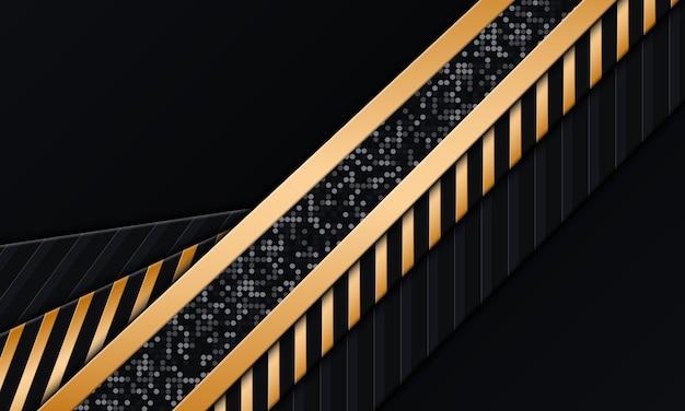 金色のストライプとドットの背景を持つダークネイビー。抽象的な背景。ベクトルイラスト。