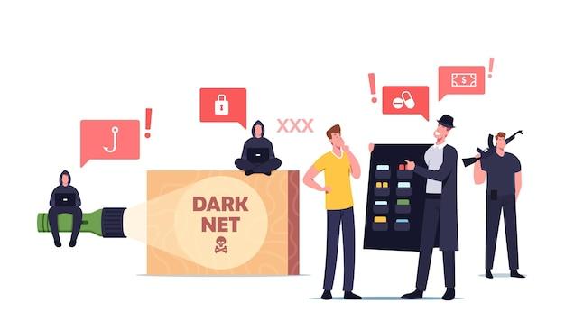 Dark net concept. male character user choose forbidden content at criminal in black cloak and hat. hacker, cyber crime darknet service, virtual online technologies. cartoon people vector illustration