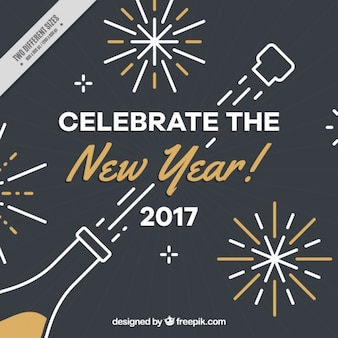 Dark new year background with champagne bottle and golden details