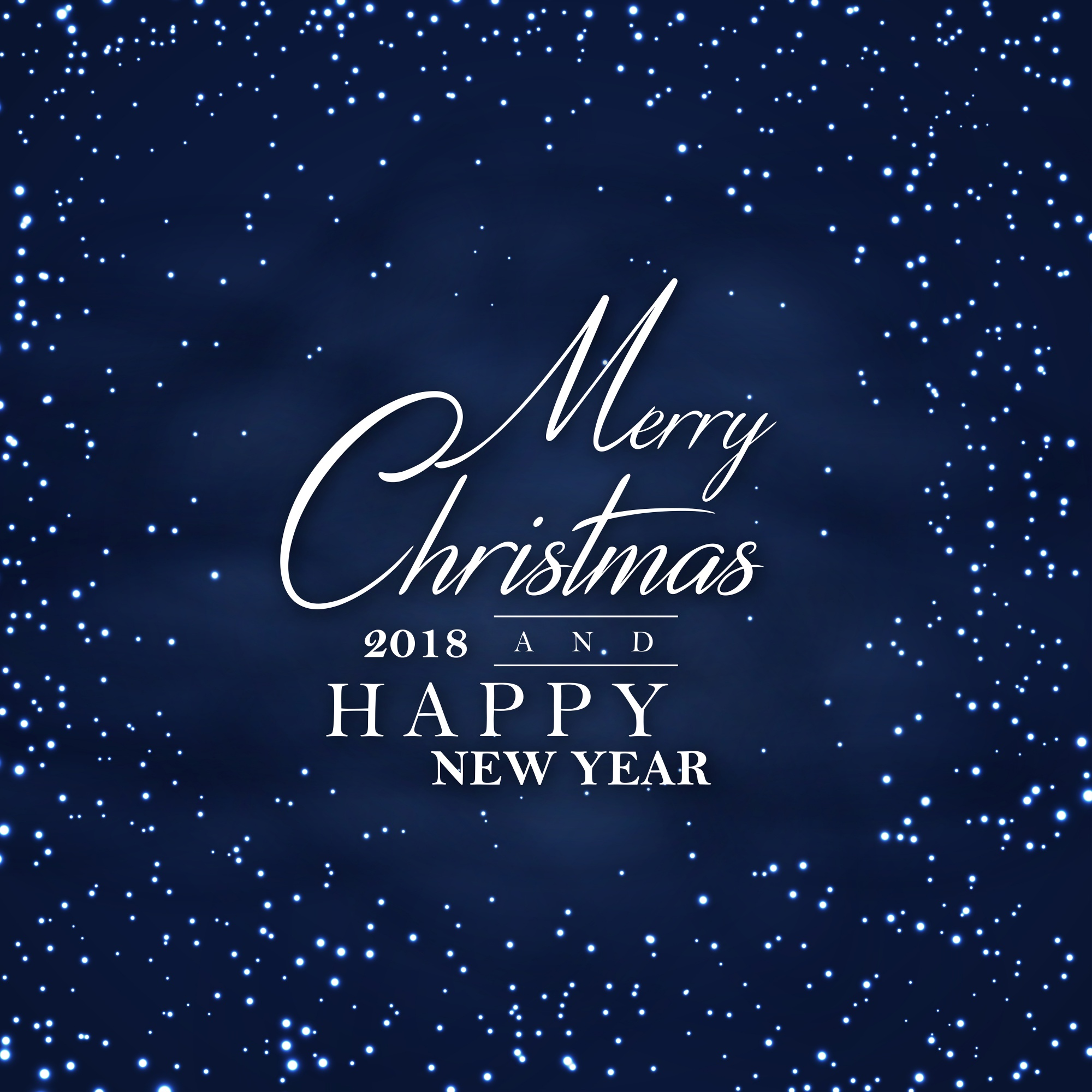 Dark Night Merry Christmas and Happy New Year 2018 Poster Background
