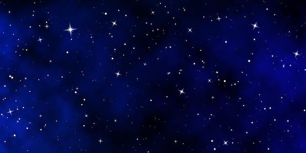 어두운 밤하늘. 별이 빛나는 하늘 색 배경. 빛나는 별이있는 무한 공간.