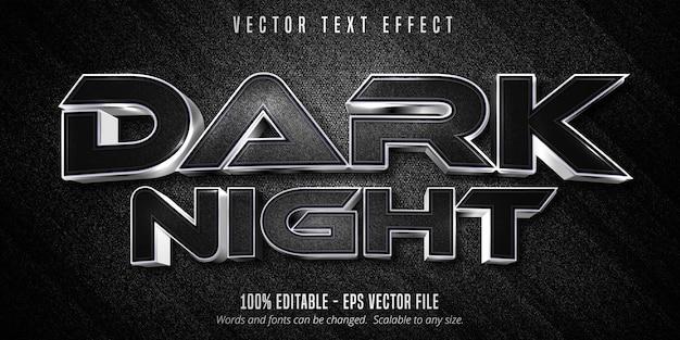 어두운 밤 텍스트, 검은 캔버스 배경에 고급 실버 편집 가능한 텍스트 효과