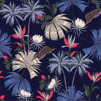 Dark night tropical seamless beautiful  pattern vector