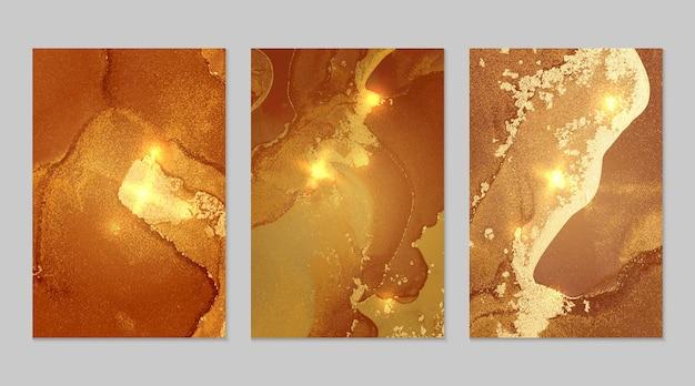 ジオードとスパークルのダークオレンジとゴールドの質感アルコールインク技法キラキラとモダンなペイント