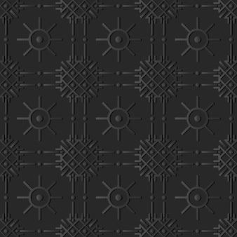 어두운 종이 아트 체크 크로스 라운드 도트 라인 꽃, 벡터 세련된 장식 패턴 배경