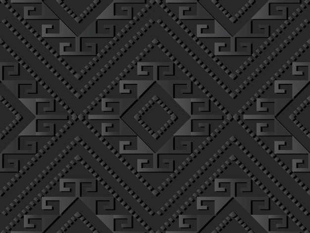 Dark paper art check diamond spiral cross dot line, vector stylish decoration pattern background