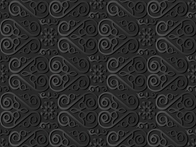 Dark paper art check spiral curve cross frame vine flower