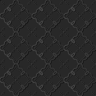 Dark paper art curve check cross vine dot line, vector stylish decoration pattern background