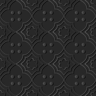 어두운 종이 아트 곡선 크로스 플라워 라인 도트, 벡터 세련된 장식 패턴 배경