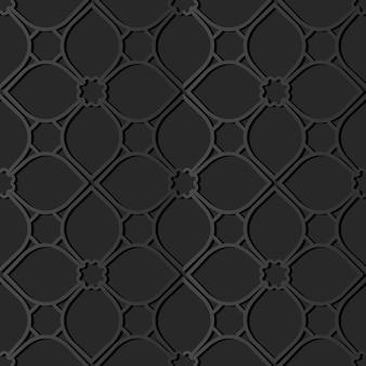 Dark paper art curve cross flower line, vector stylish decoration pattern background